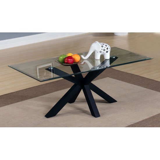 Alissa High Gloss Black finish Clear Glass Top Coffee Table
