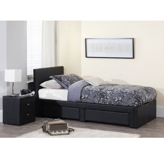 Lanolin single bed in black faux leather with 2 drawers beds single double bunk beds - Single leather bed with drawers ...