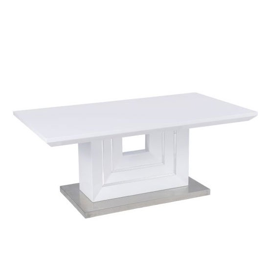 Palma White High Gloss Coffee Table With Brushed Metal Base