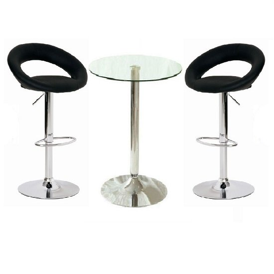 Gino Bar Table In Clear Glass And 2 Leoni Bar Stools In Black