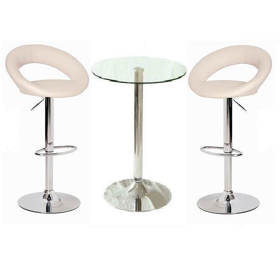 Gino Bar Table In Clear Glass And 2 Leoni Bar Stools In Cream