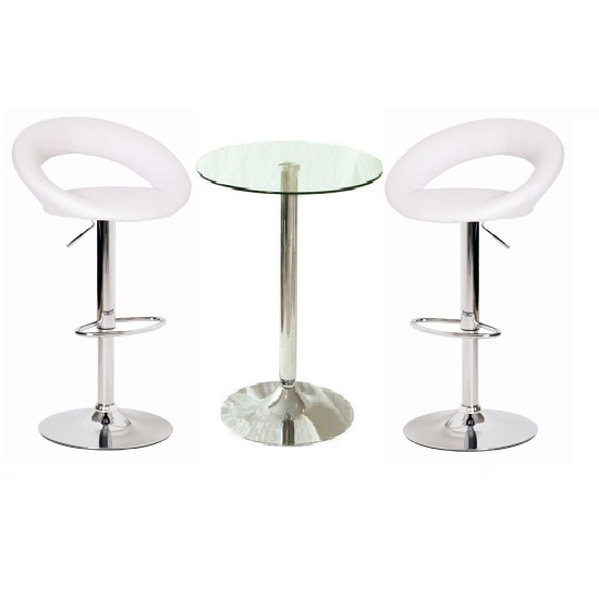 Gino Bar Table In Clear Glass And 2 Leoni Bar Stools In White