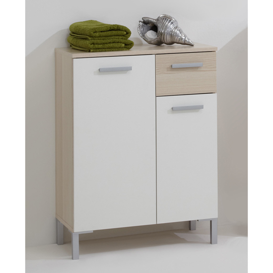 floor standing bathroom cupboard lerida2 floorstanding bathroom cabinet in ashtree white 18334