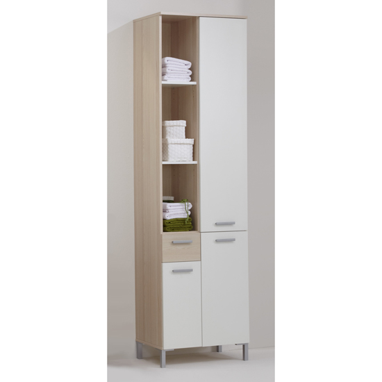 Lerida4 Tall Bathroom Cabinet in Ashtree White 926 004