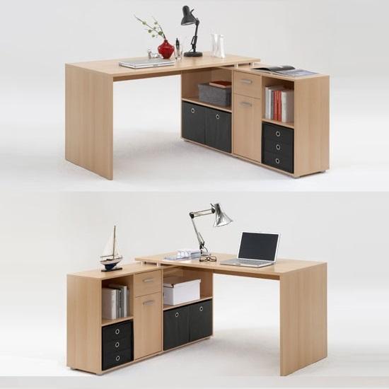 Lex Wooden Corner Computer Desks In Beech