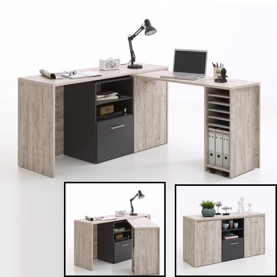 weimar corner computer desk and sideboard in sand oak anthracite1 - Corner Computer Desks