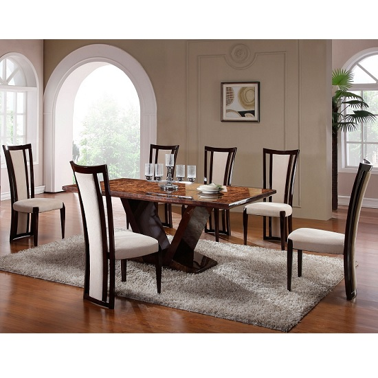 Libra Marble Dining Table In Gloss Walnut With 4 Libra Chairs