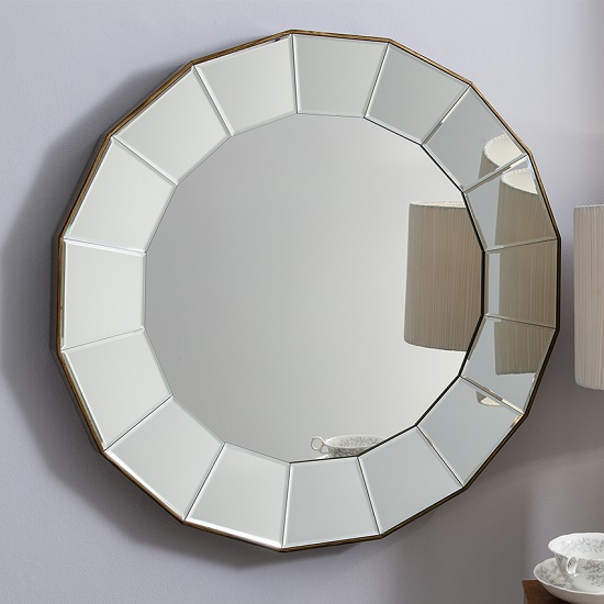 Lindsey Wall Mirror Round In Warm Bronze With Bevelled Glass