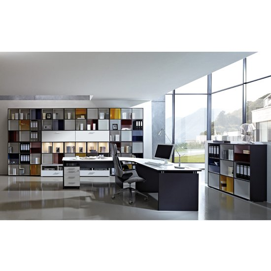 Read more about Linea set a office room furniture in anthracite white