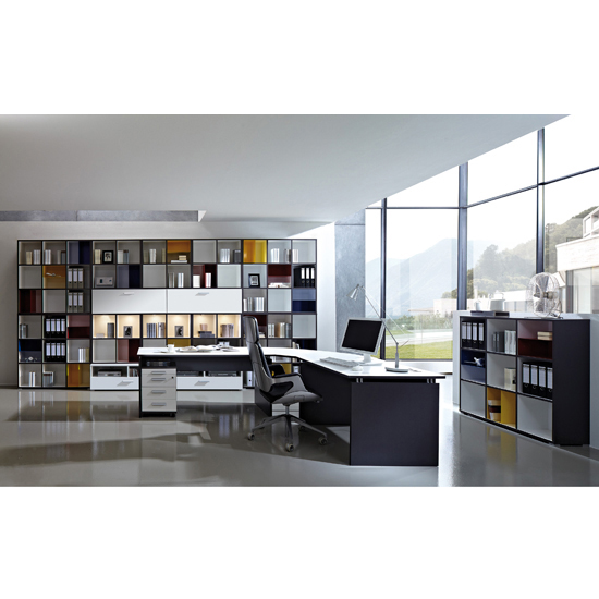 Linea Set A Office Room Furniture In Anthracite White