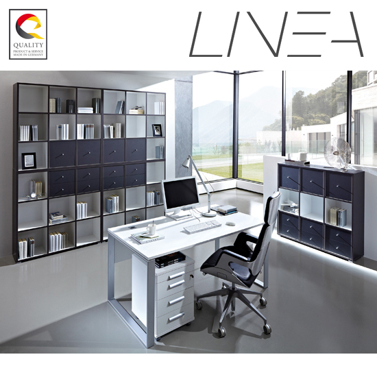 Linea Set B Office Room Furniture In Anthracite White 18095