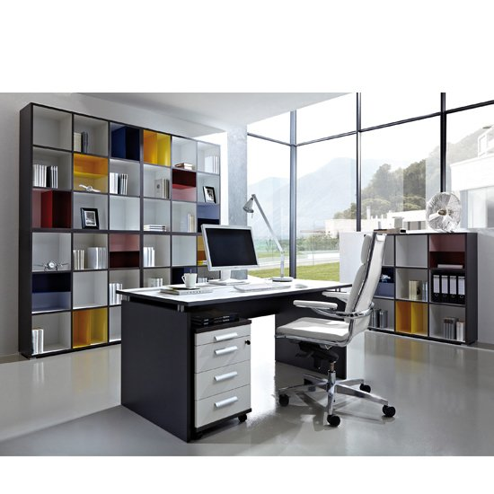 Linea Set C Office Furniture In Anthracite And White 18096