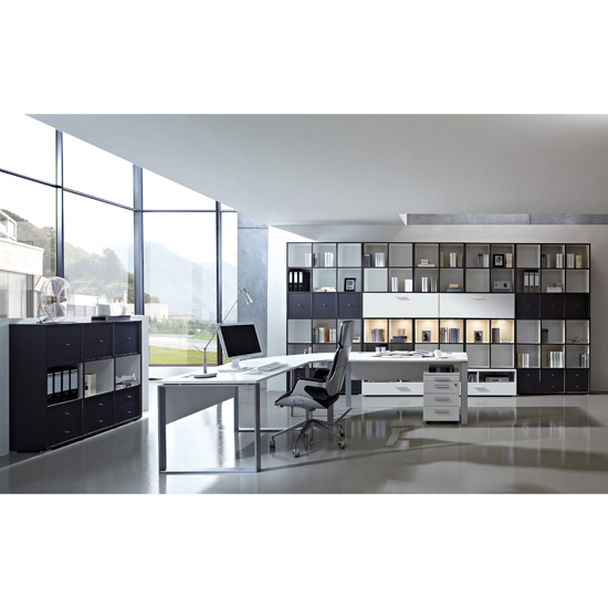Linea Set D Office Room Furniture In Anthracite And White