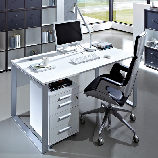linea gloss white computer desk