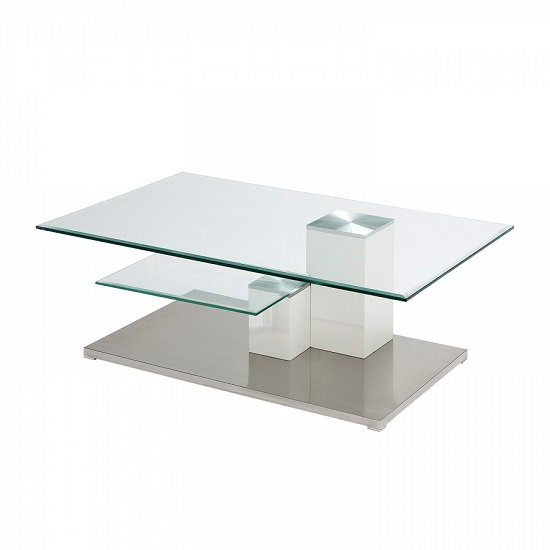 Linen Coffee Table In Clear Glass With Stainless Steel Base
