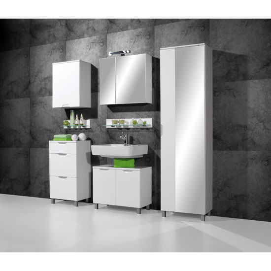 Liquid White Bathroom Furniture Set
