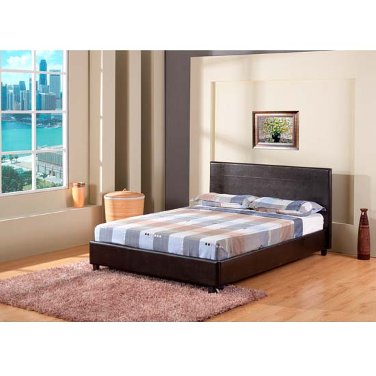 Lisa Black Faux Leather Double Bed