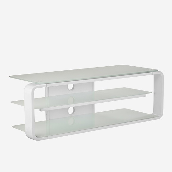 Hedon Glass LCD TV Stand In White With 2 Shelf