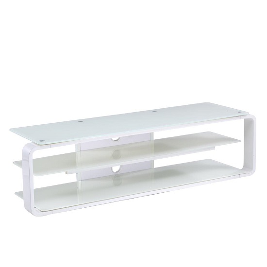 Hedon Glass LCD TV Stand Large In White With 2 Shelf