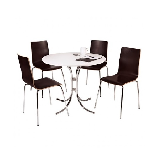 Norley 4 Seater Bistro Set In White And Wenge With Chrome Frame