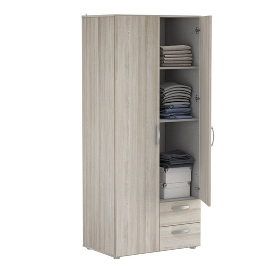 Lola Wardrobe In Shannon Oak With 2 Doors And 2 Drawers_4