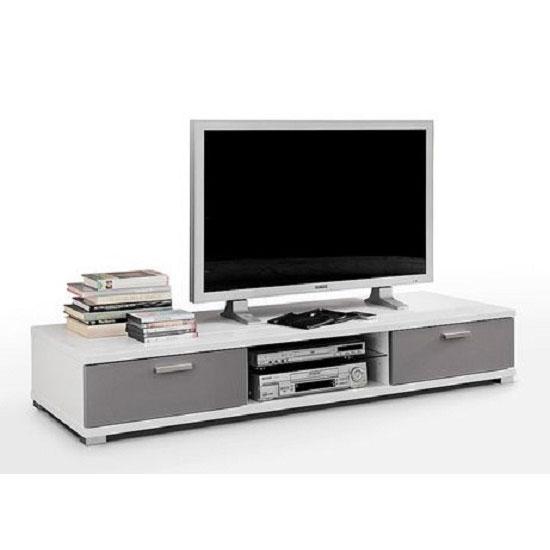 Lorenz LCD TV Stand in White Gloss With 2 Drawer in Grey Fronts