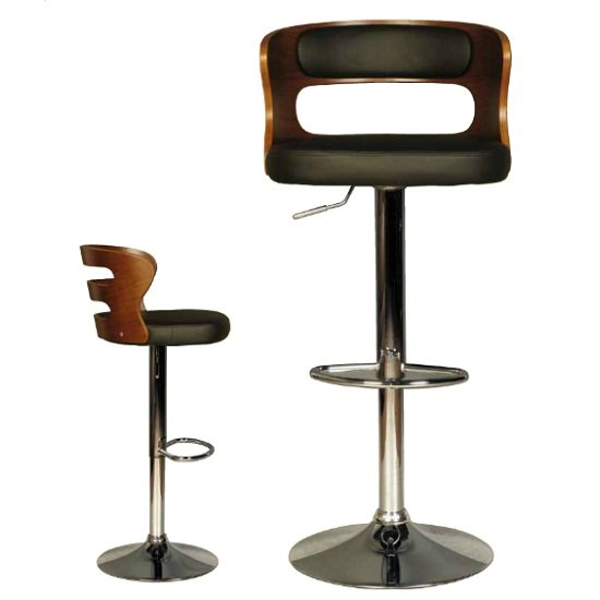 Alston Bar Stool In Walnut And Black PU With Chrome Base_2