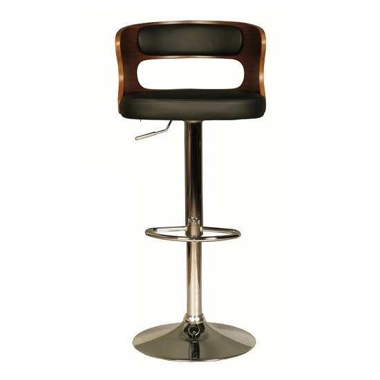 Alston Bar Stool In Walnut And Black PU With Chrome Base_1