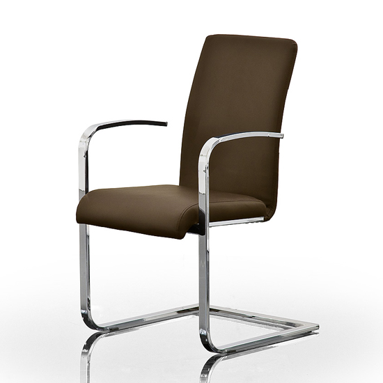 Lotte Brown Faux Leather Dining Chairs With Chrome Legs And Arms