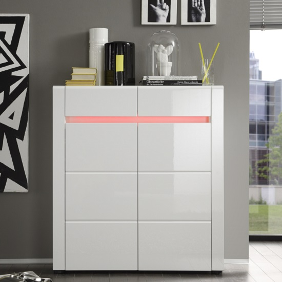 storage cabinet shoe cabinet in white gloss with 2 doors and led light 26816
