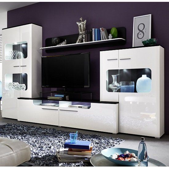 Foster Living Room Set In White Gloss Fronts With Led 27548