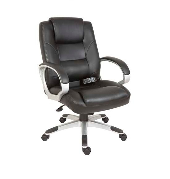 Daren Home Office Chair In Black PU Leather And Massage Function_1
