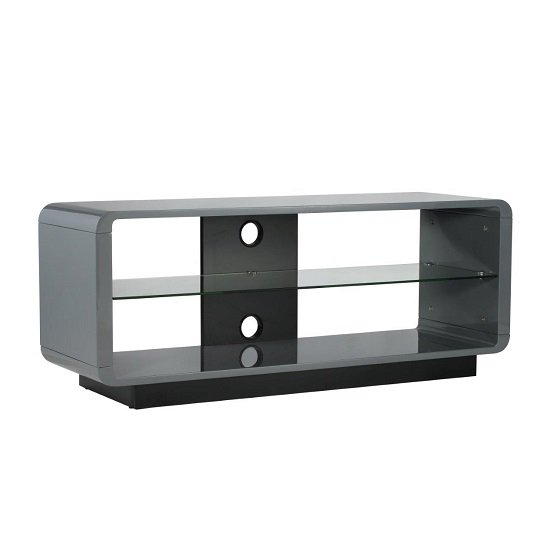 Lucia LCD TV Stand Medium In High Gloss Grey With Glass Shelf