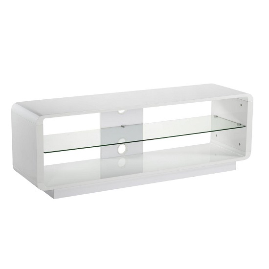 Lucia LCD TV Stand Large In High Gloss White With Glass Shelf