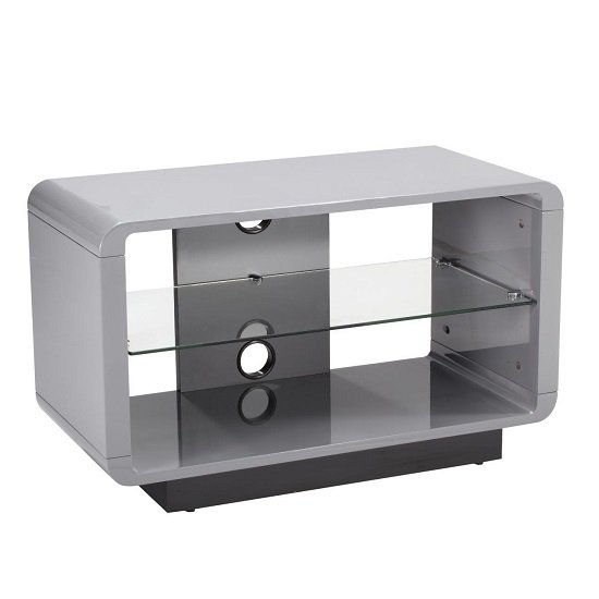 lucia tv stand small in high gloss grey with glass shelf. Black Bedroom Furniture Sets. Home Design Ideas