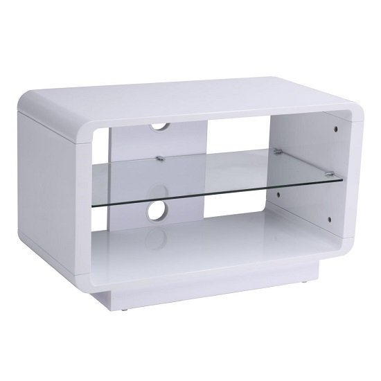 Lucia TV Stand Small In High Gloss White With Glass Shelf