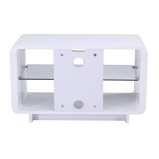 Lucia TV Stand Small In High Gloss White With Glass Shelf_2