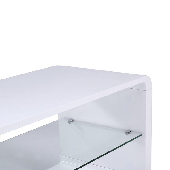Lucia TV Stand Small In High Gloss White With Glass Shelf 3