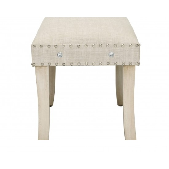 Susan Dining Bench In Neutral Fabric With Diamanté_3