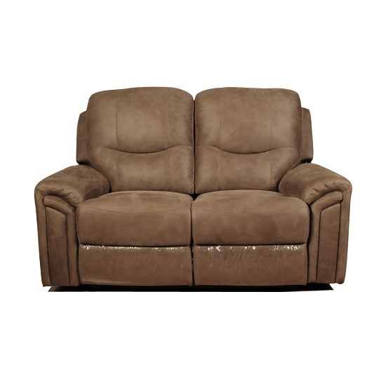 medina recliner 2 seater sofa in light brown leather look. Black Bedroom Furniture Sets. Home Design Ideas