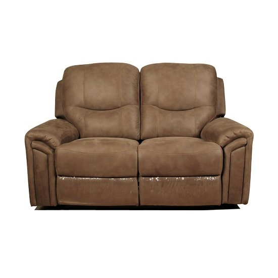 Medina Recliner 2 Seater Sofa In Light Brown Leather Look Fabric