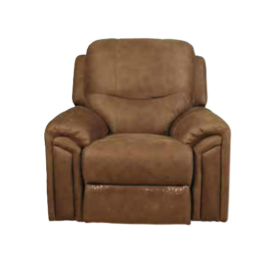 Medina Recliner Sofa Chair In Light Brown Leather Look Fabric