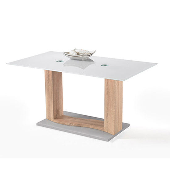 Marino Oak Finish Frosted Glass Top Dining Table Only