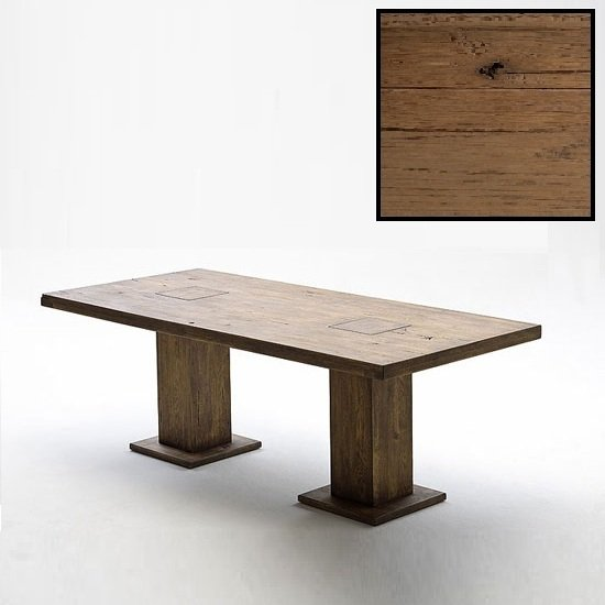 Mancinni 180cm Pedestal Dining Table In Solid Bassano Oak