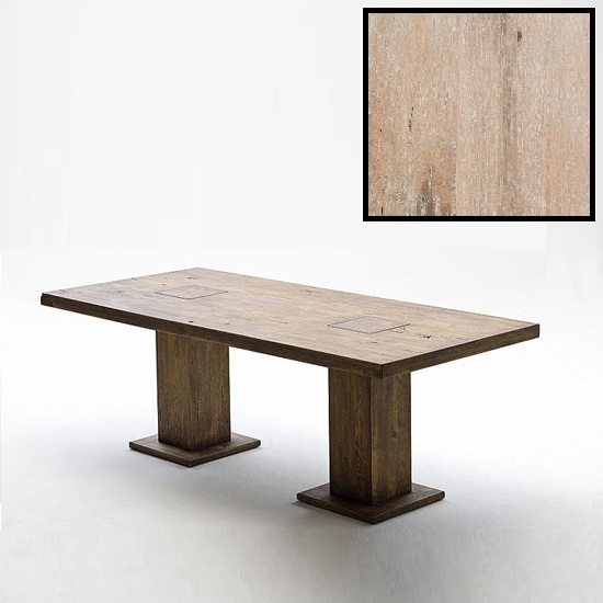 Mancinni 220cm Pedestal Dining Table In Solid White Oak