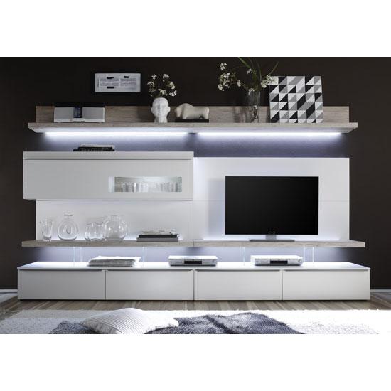 Mari Living Room Set 1 In White Matt And Oak With Led
