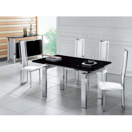 Jessi Black Extendable Dining Table With 6 D231 Chairs