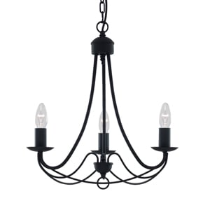 Maypole Satin Matt Black 3 Light Ceiling Pendant