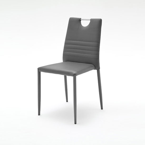 Meda Dining Chair In Anthracite Tubular With PU Coated