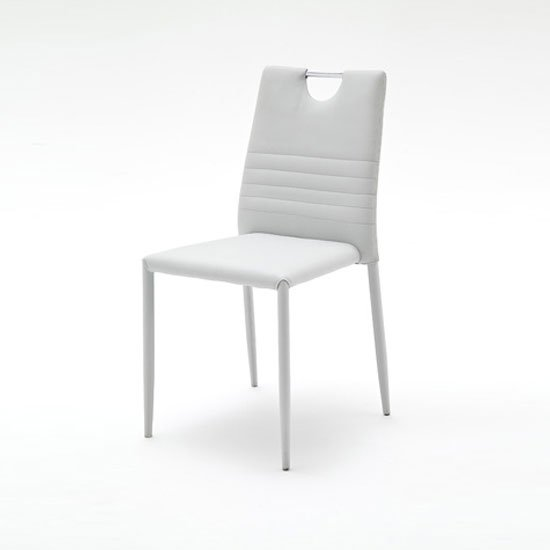 Meda Dining Chair In Grey Tubular With PU Coated